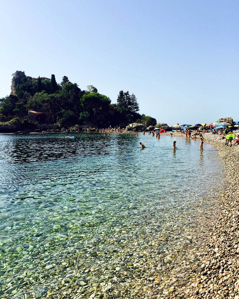 Rocky shores and turquoise water at Isola Bella