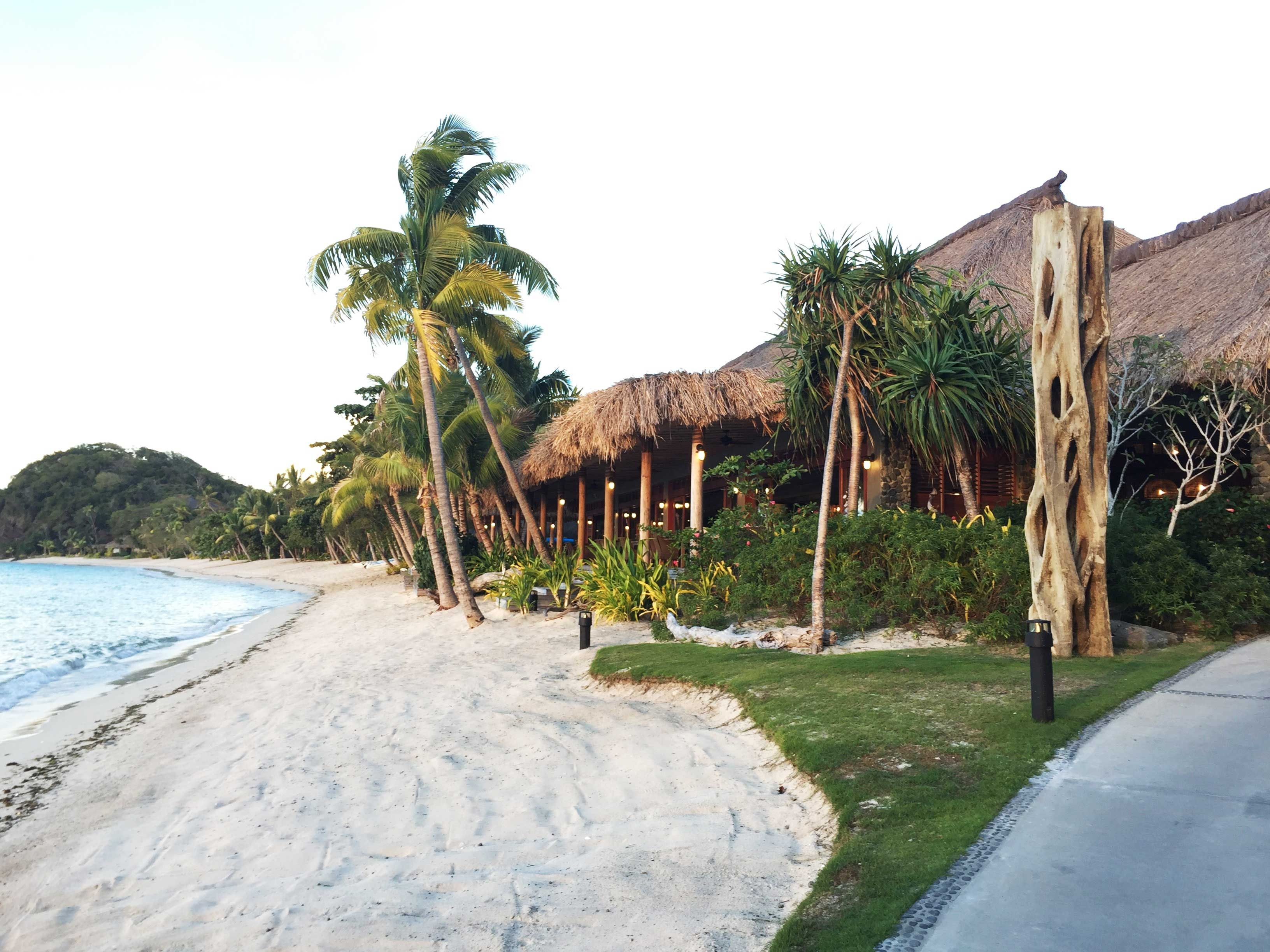 Kokomo Island Resort sits metres from the water's edge, blocked only by a row of tall palm trees