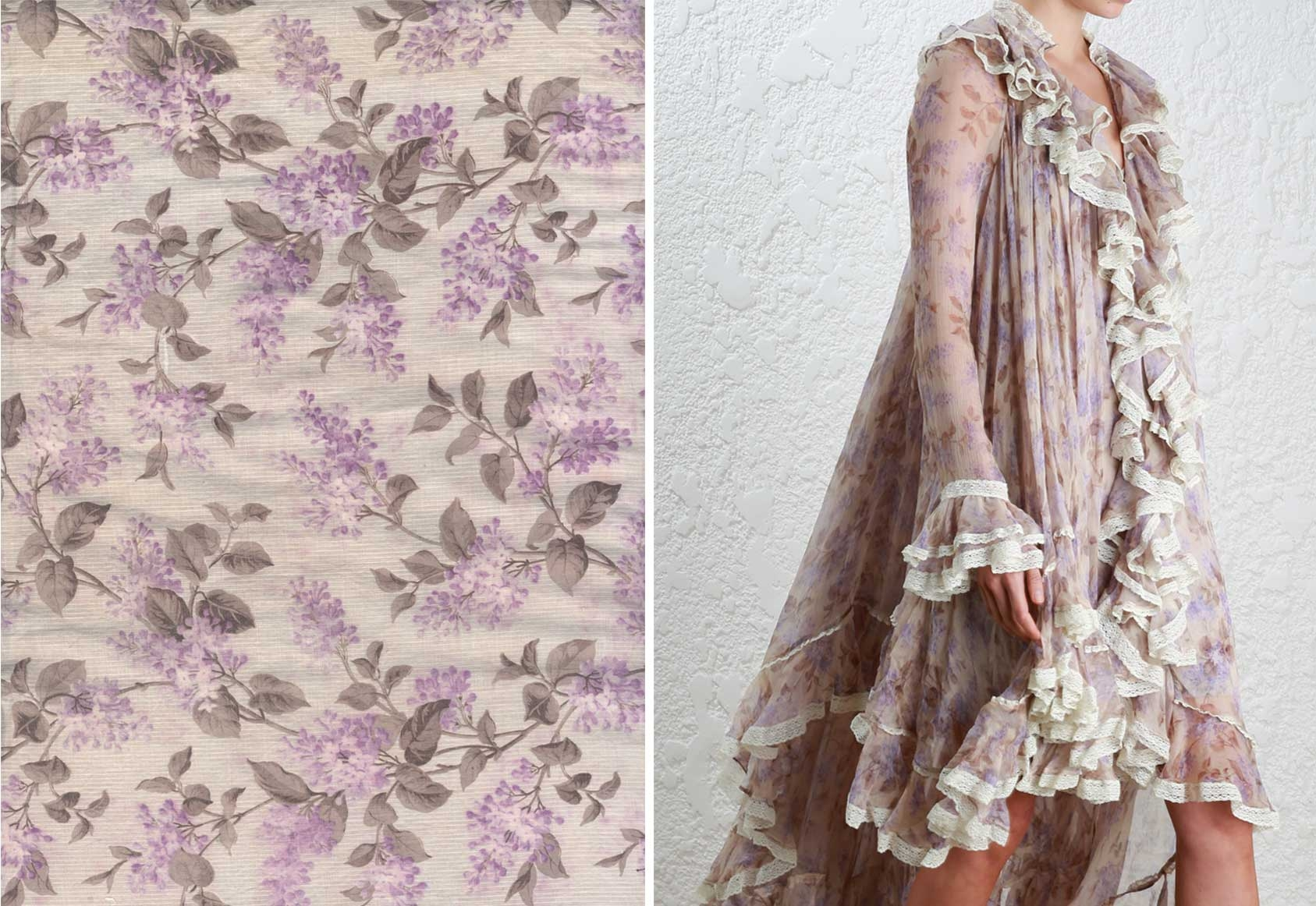 A fabric swatch and dress detail shot from our Bazaar in Bloom edit