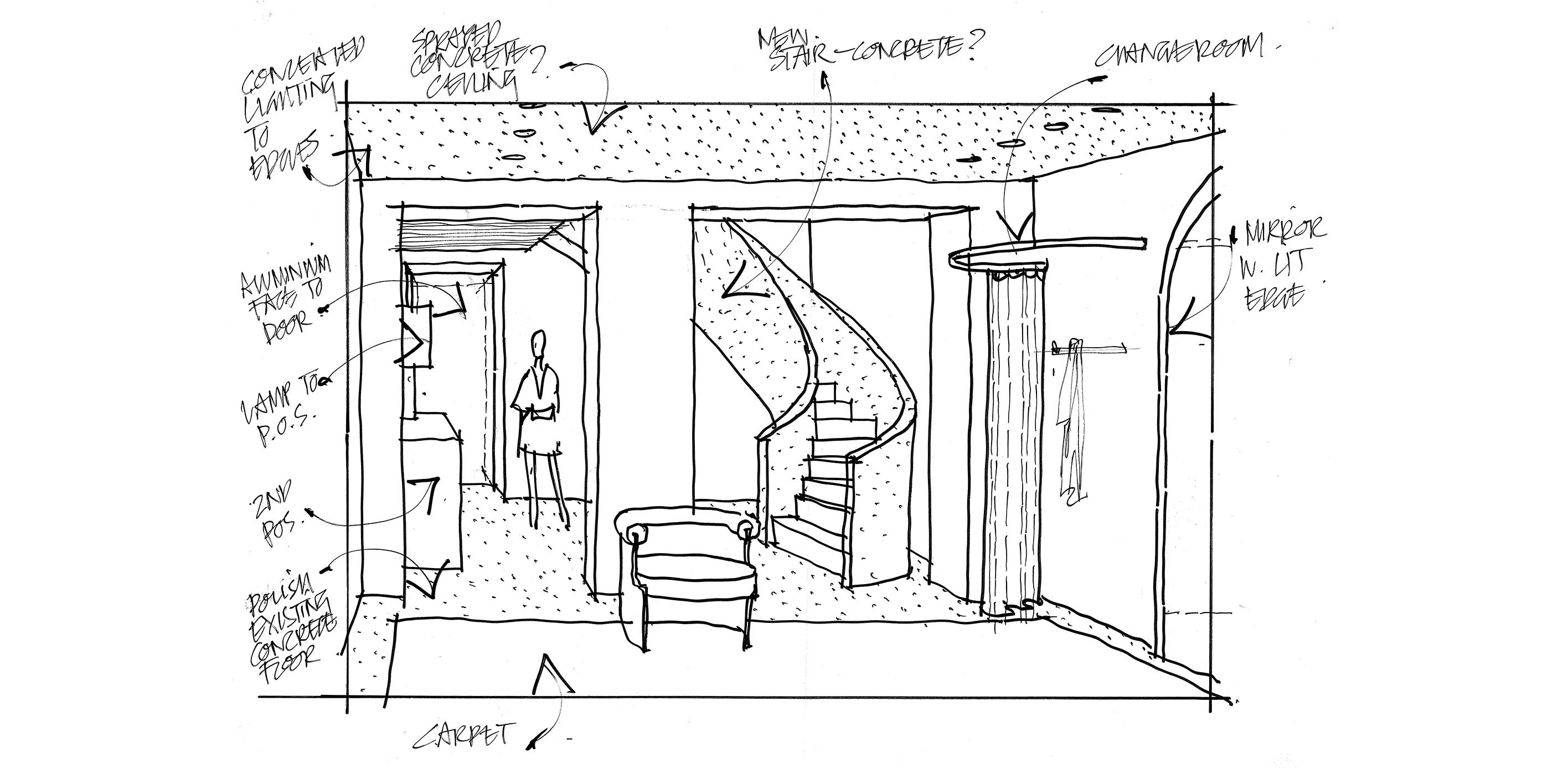 Don McQualter's original sketches for our Mayfair store