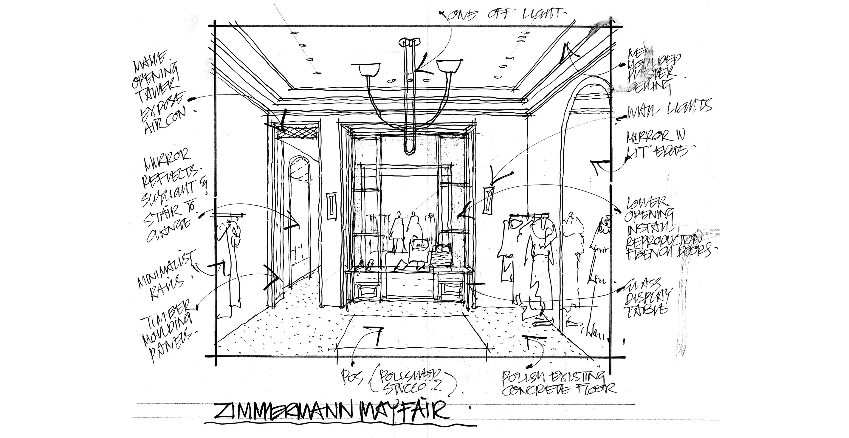 A sketch of our Mayfair store by Don McQualter
