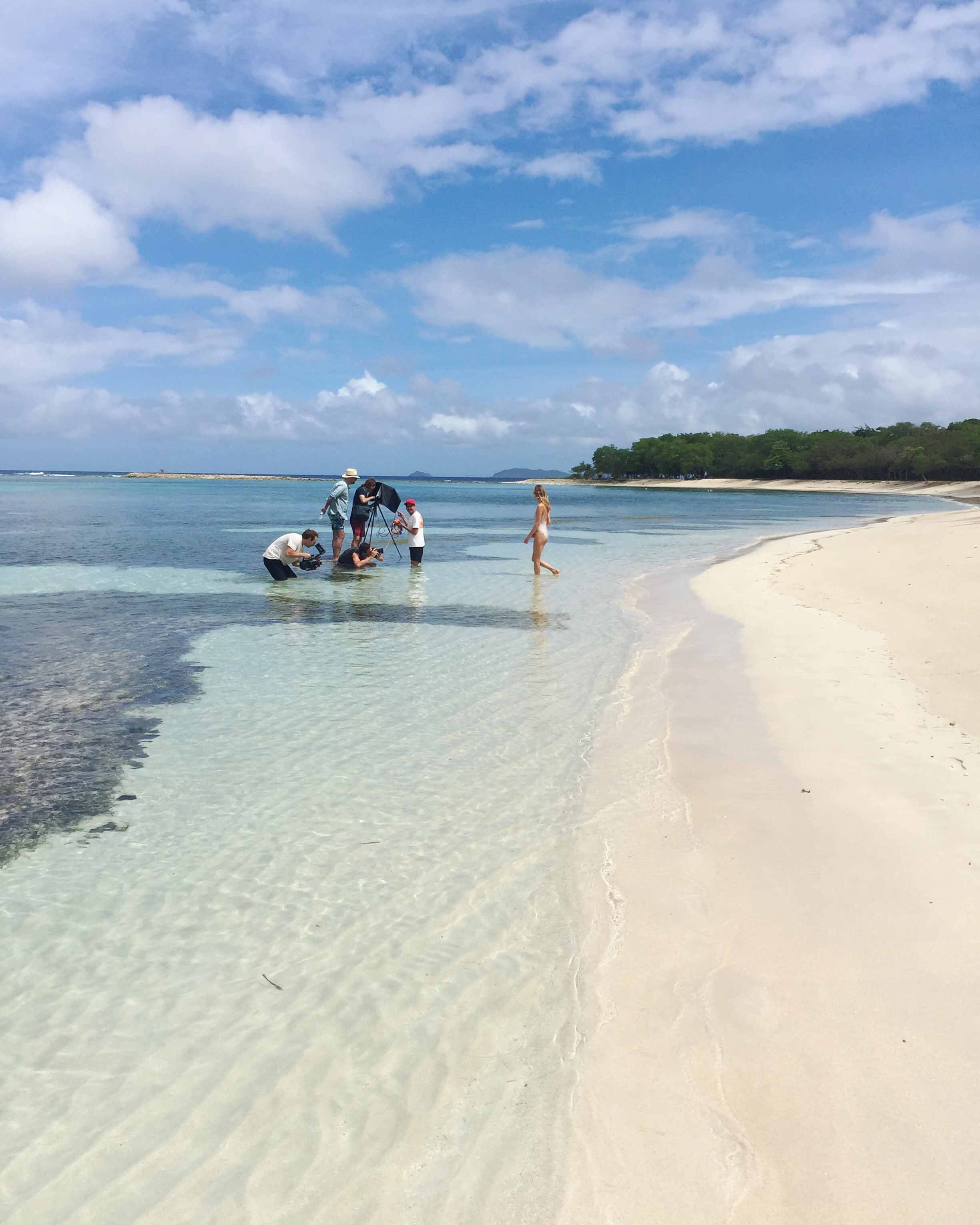 Shooting on the picture-perfect beach