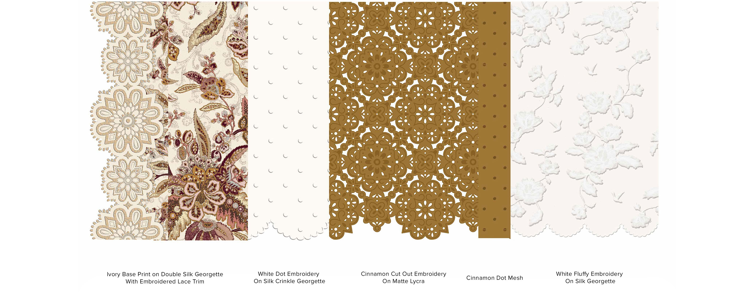 Swatches of the lighter coloured fabrications used in the capsule collection