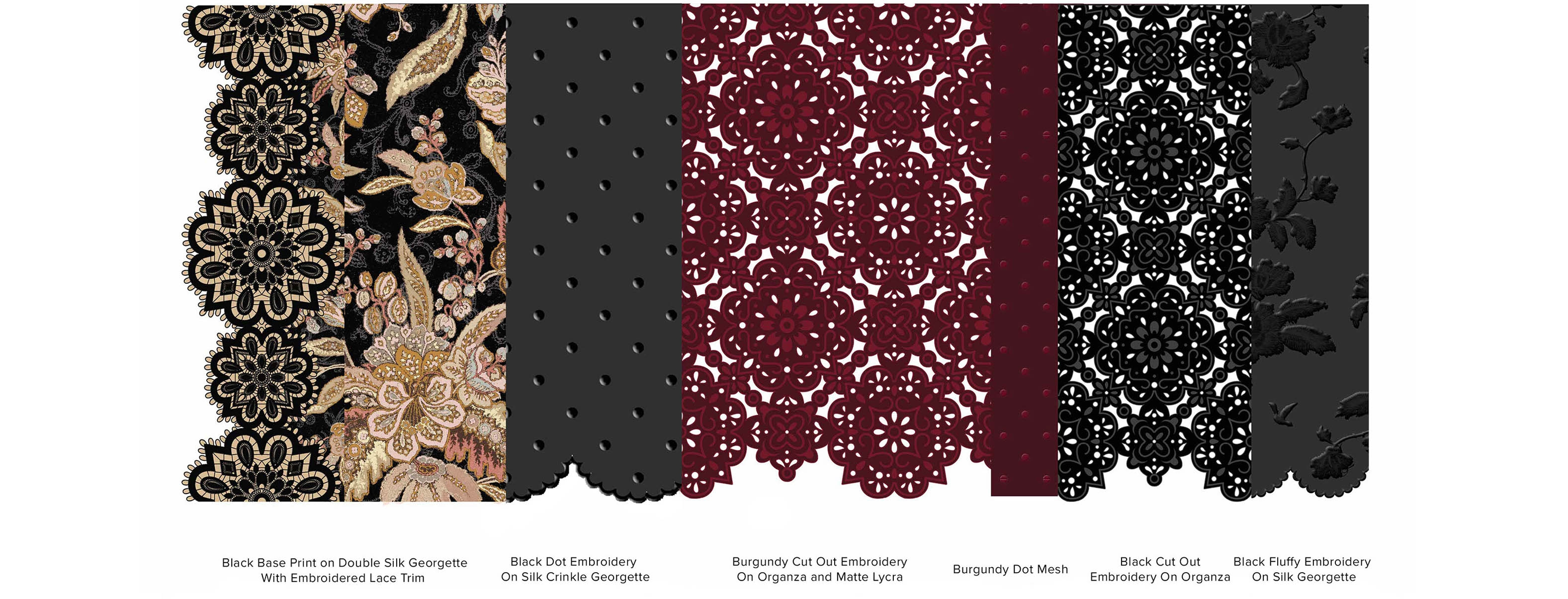 Swatches of the darker coloured fabrications used in the capsule collection