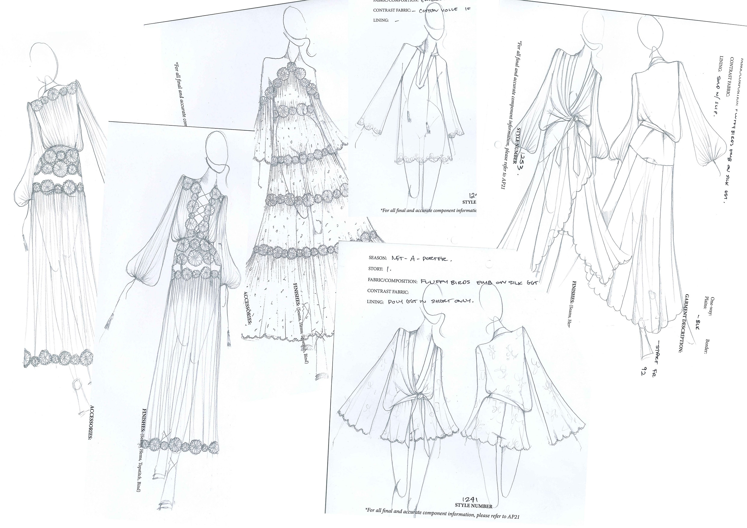 Sketches of the Net-a-Porter Capsule Collection styles