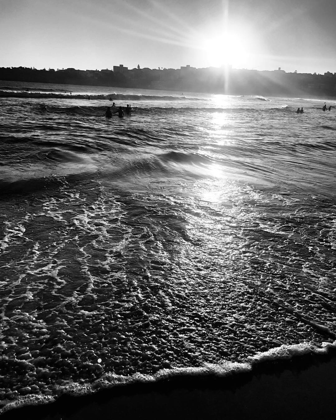 A black and white image of the shoreline at North Bondi