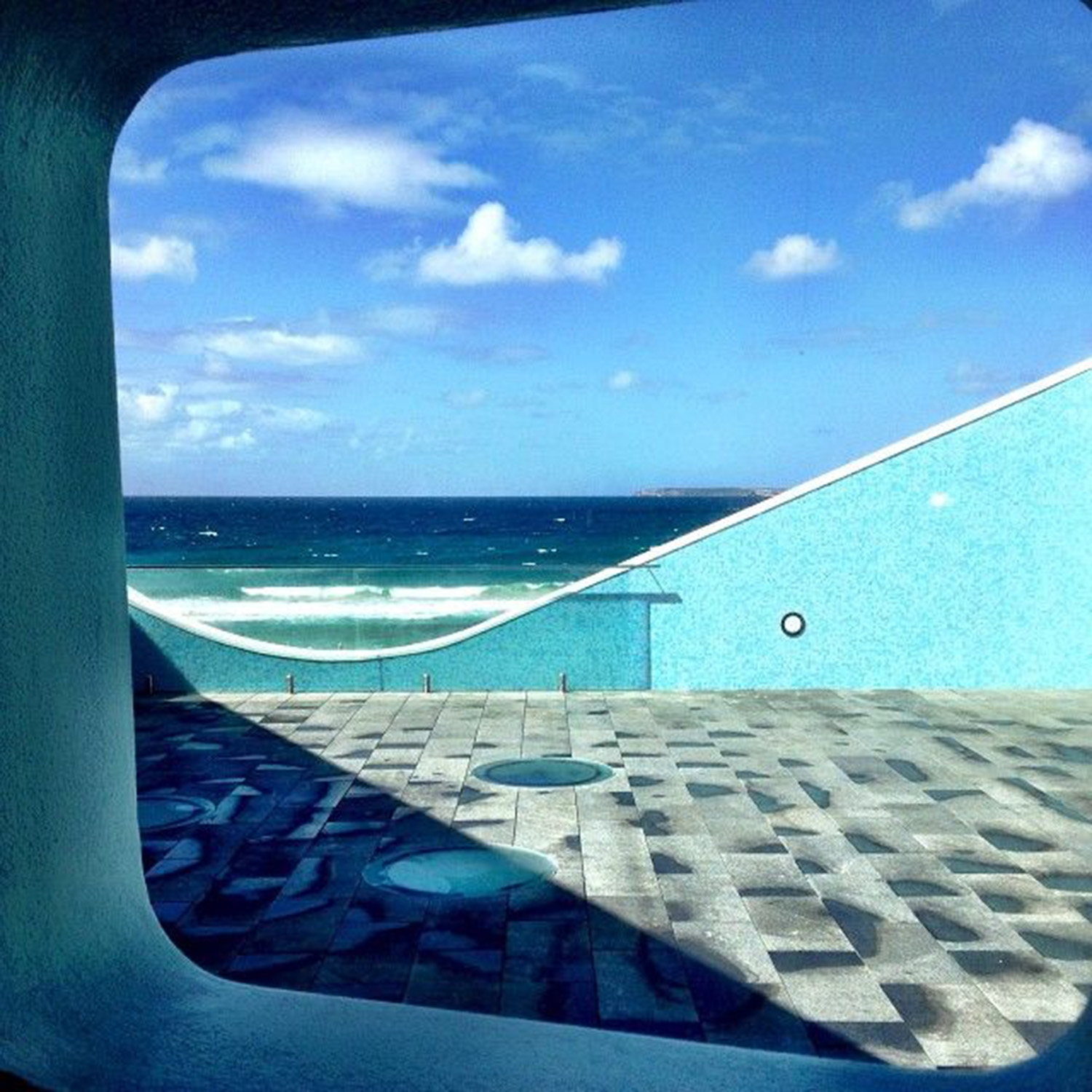 Looking out at the bright blue ocean from North Bondi Surf Club