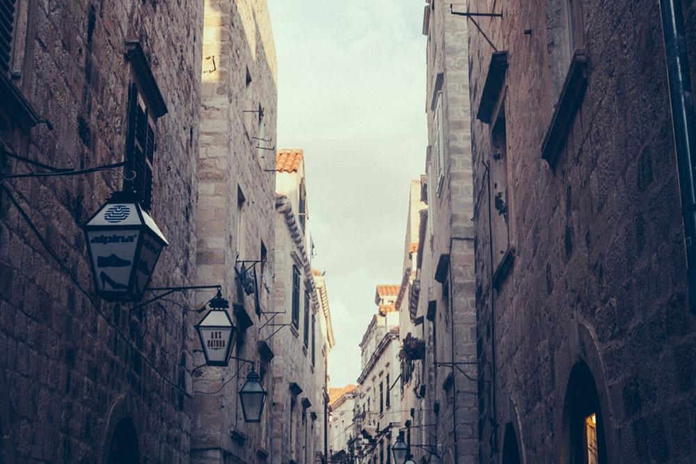 Narrow stone alleyways of Old Town Dubrovnik