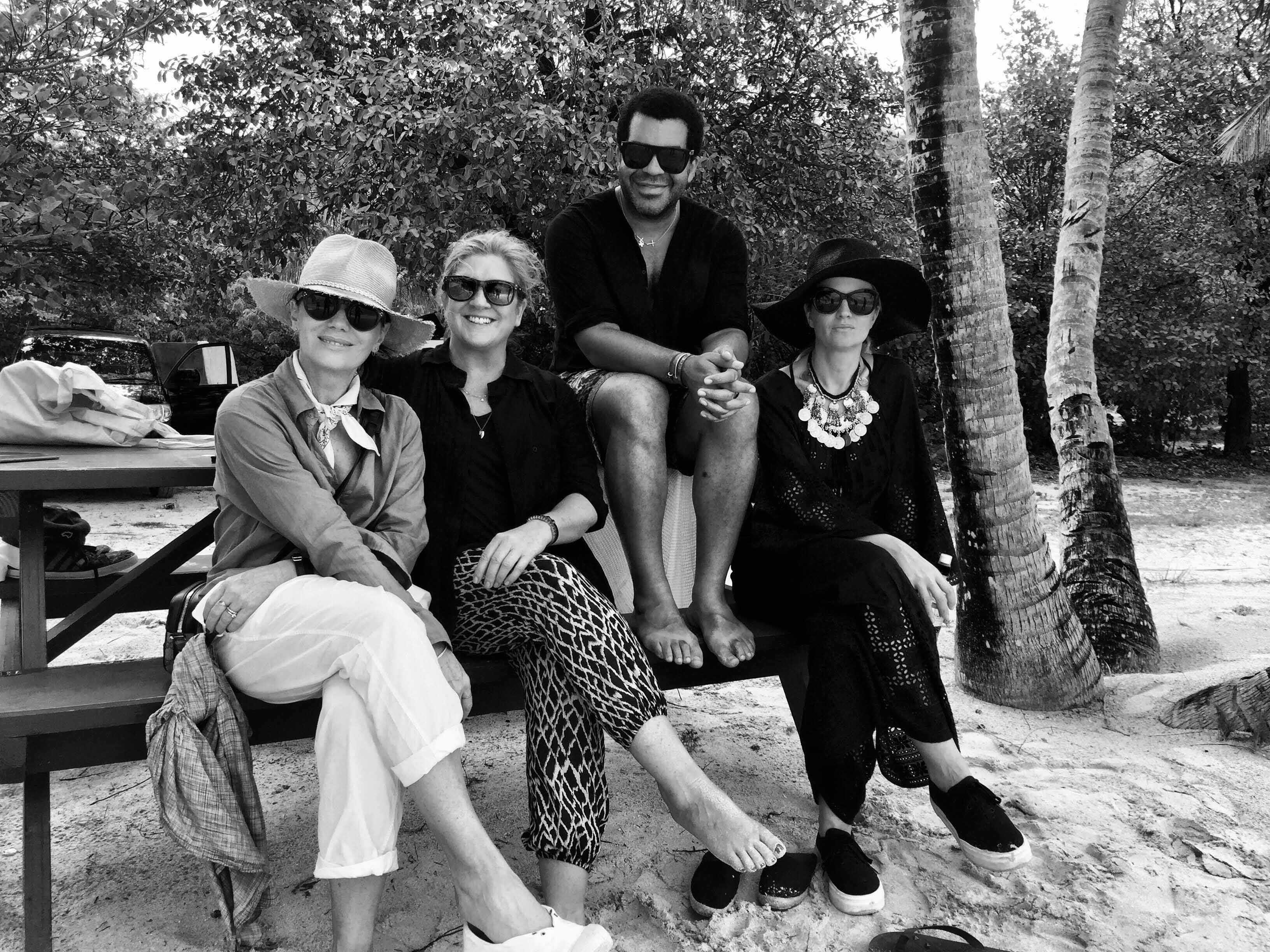 A black and white image of Nicky Zimmermann, Jodie Boland, Ben Skervin and Michell Jank