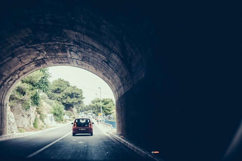 Driving through a tunnel on the Dalmatian Coast
