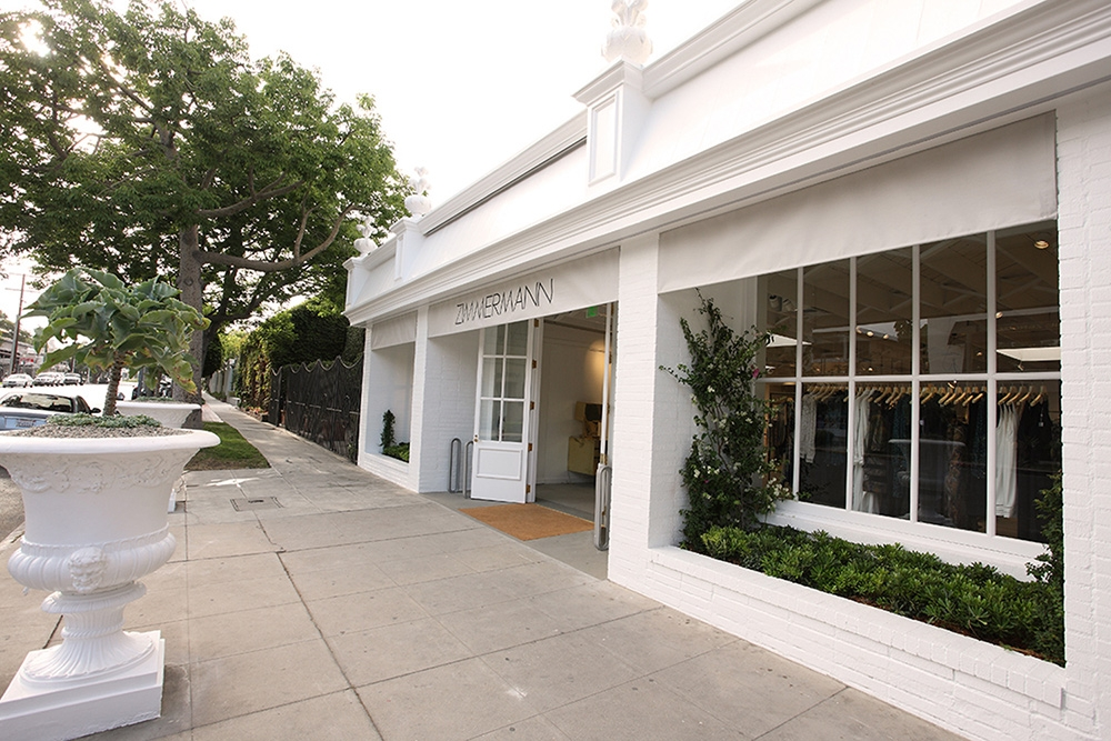 The white exterior of our new flagship store on Melrose, July 2015