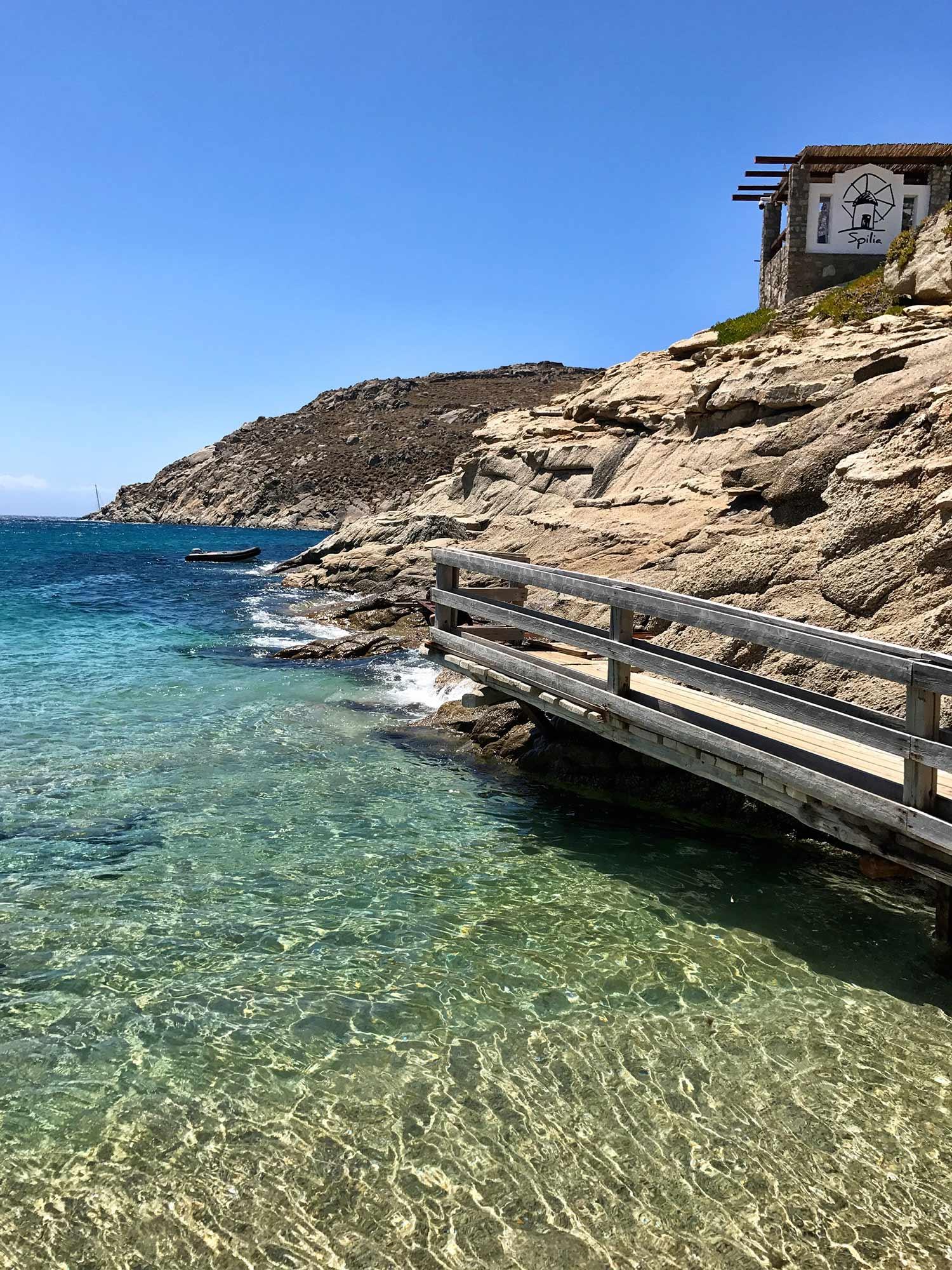 The seaside boardwalk and ombre ocean