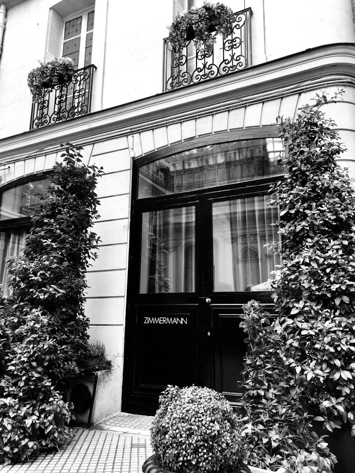 The front door of our Zimmermann showroom in Paris. December 2018