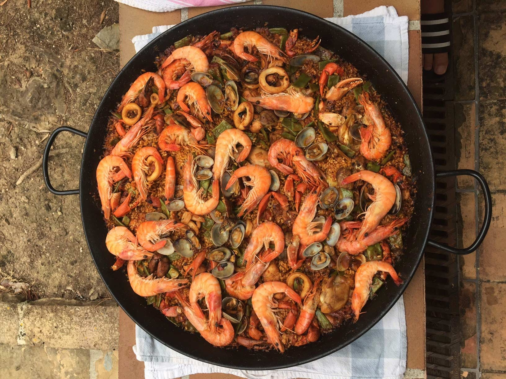 Paella: Homemade at our villa with freshly caught seafood