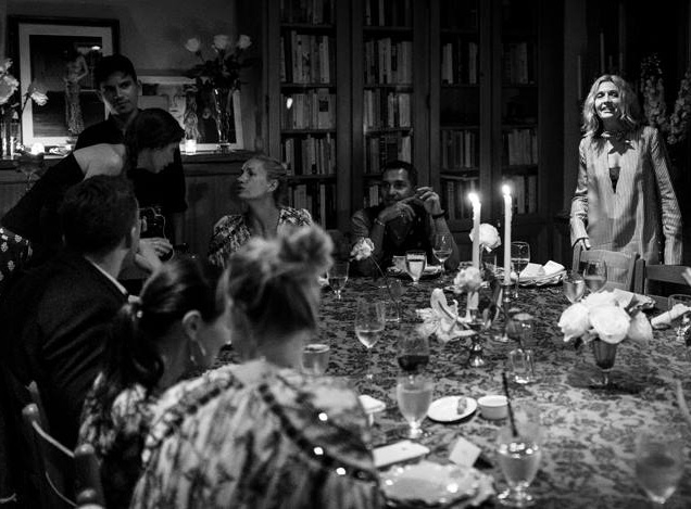 Simone Zimmermann and friends sat around a large table for dinner at Palma. September 2016