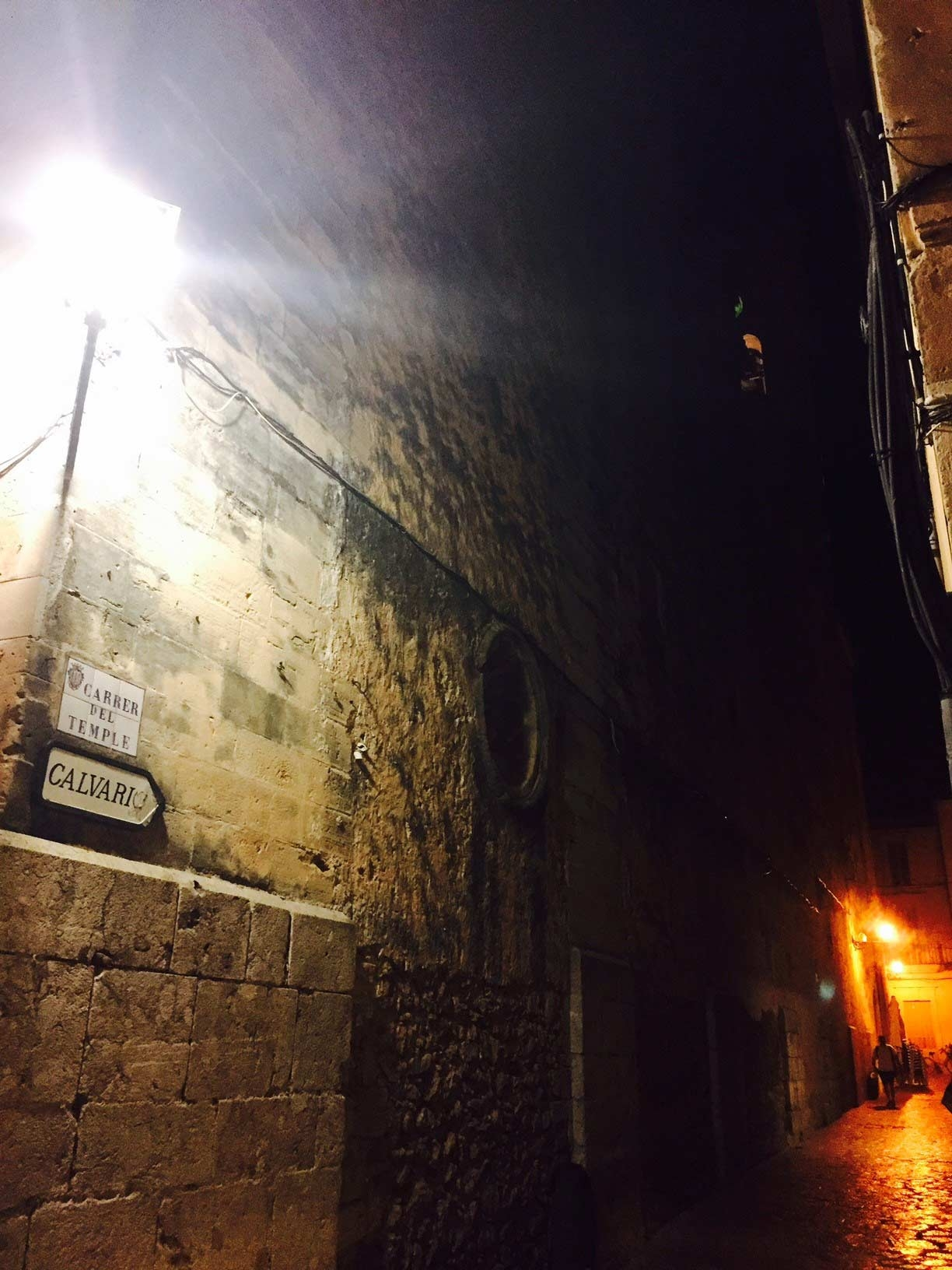 Roaming the historic alleyways of Pollenca Village by night