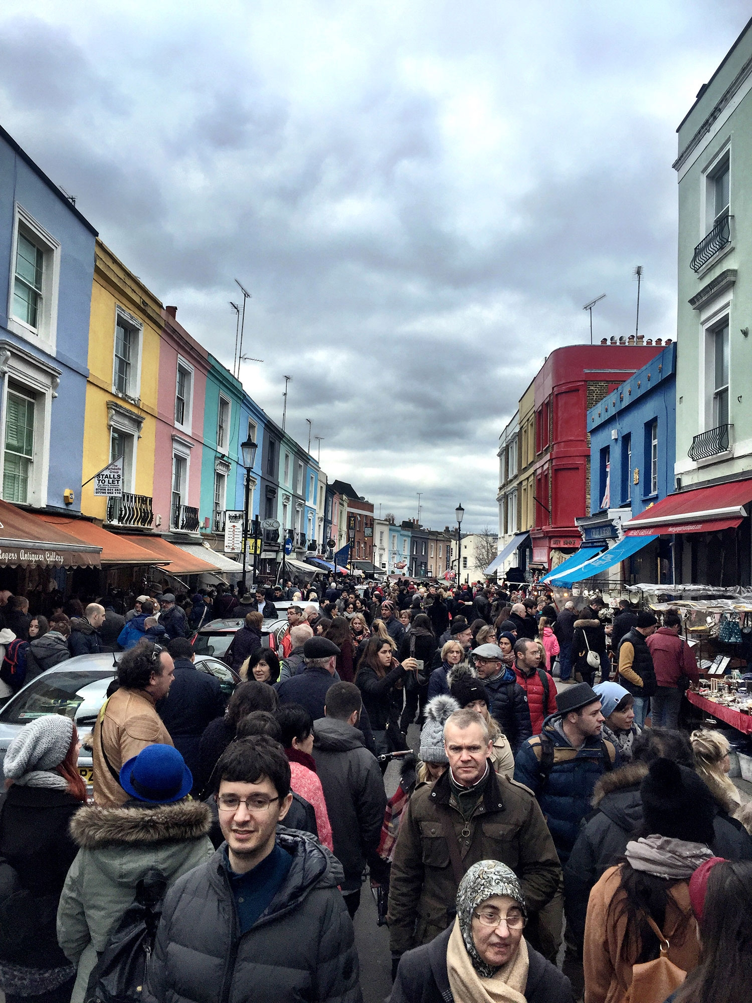 A sea of people in the streets at Portobello Market. March 2016