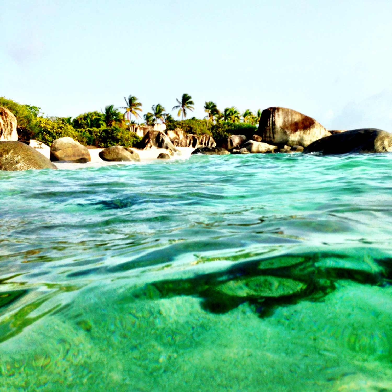 In the clear sea looking back at the shoreline scattered with rock formations and palm trees
