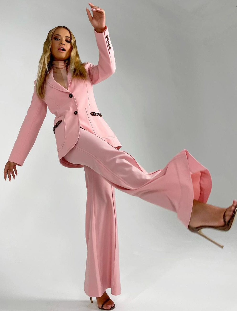 Rita Ora in the Concert Long Line jacket and Concert Wide Leg Trouser