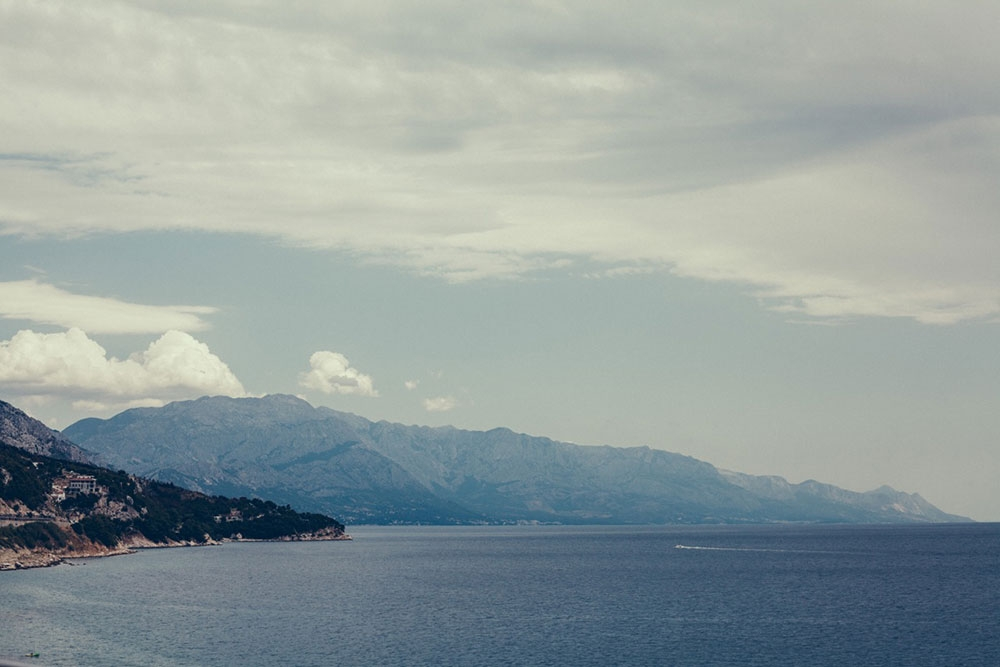 The ocean and surrounding mountains of the Dalmatian Coast