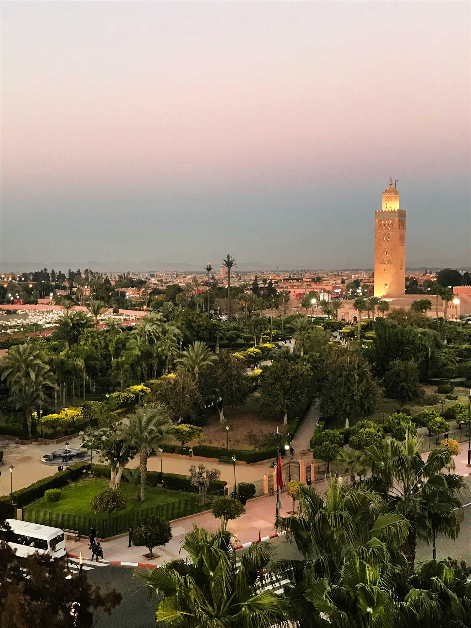 The sunset over Marrakech leaves the sky in ombre hues
