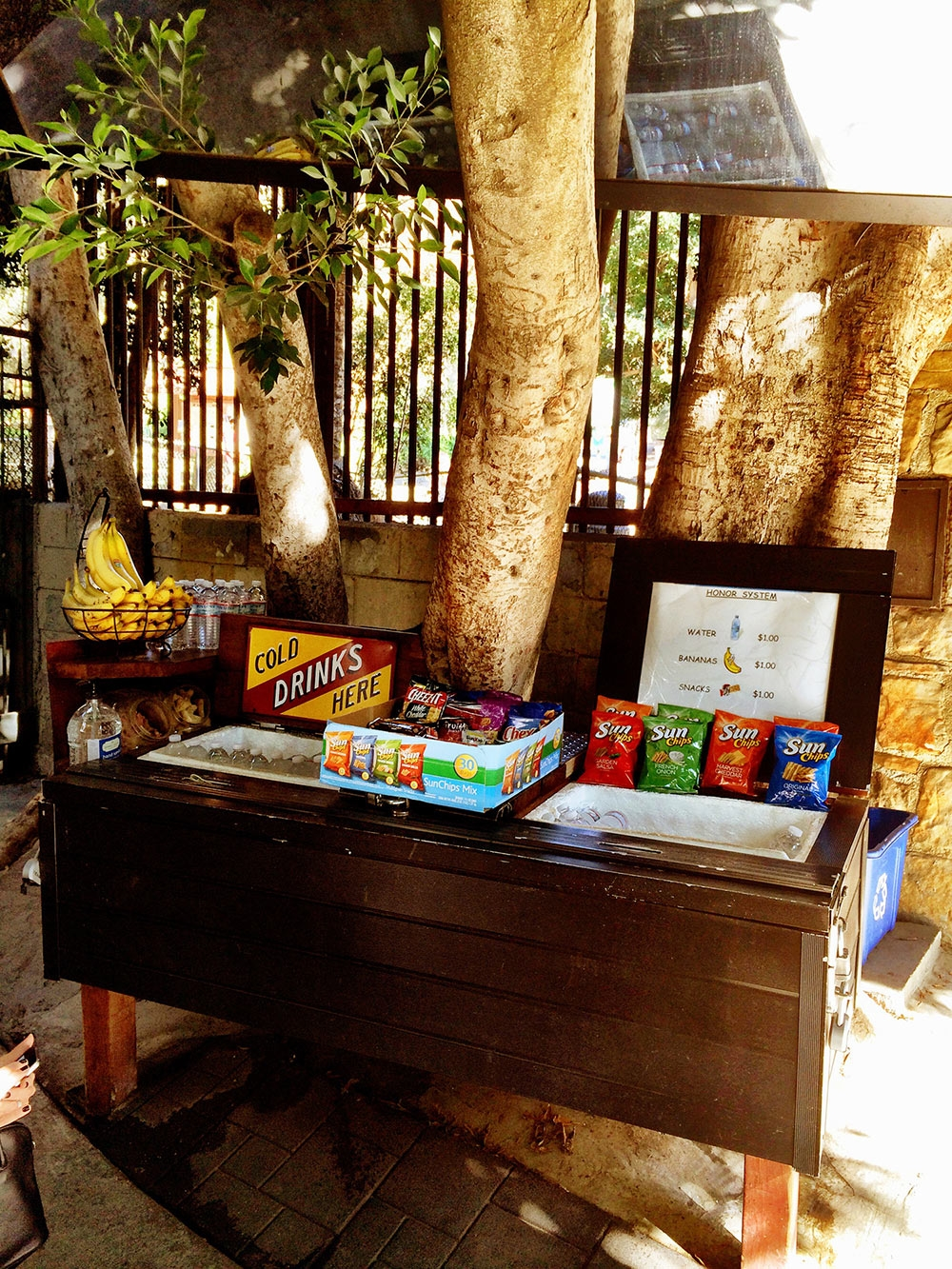Cold drinks and snacks for sale at the bottom of Runyon Canyon