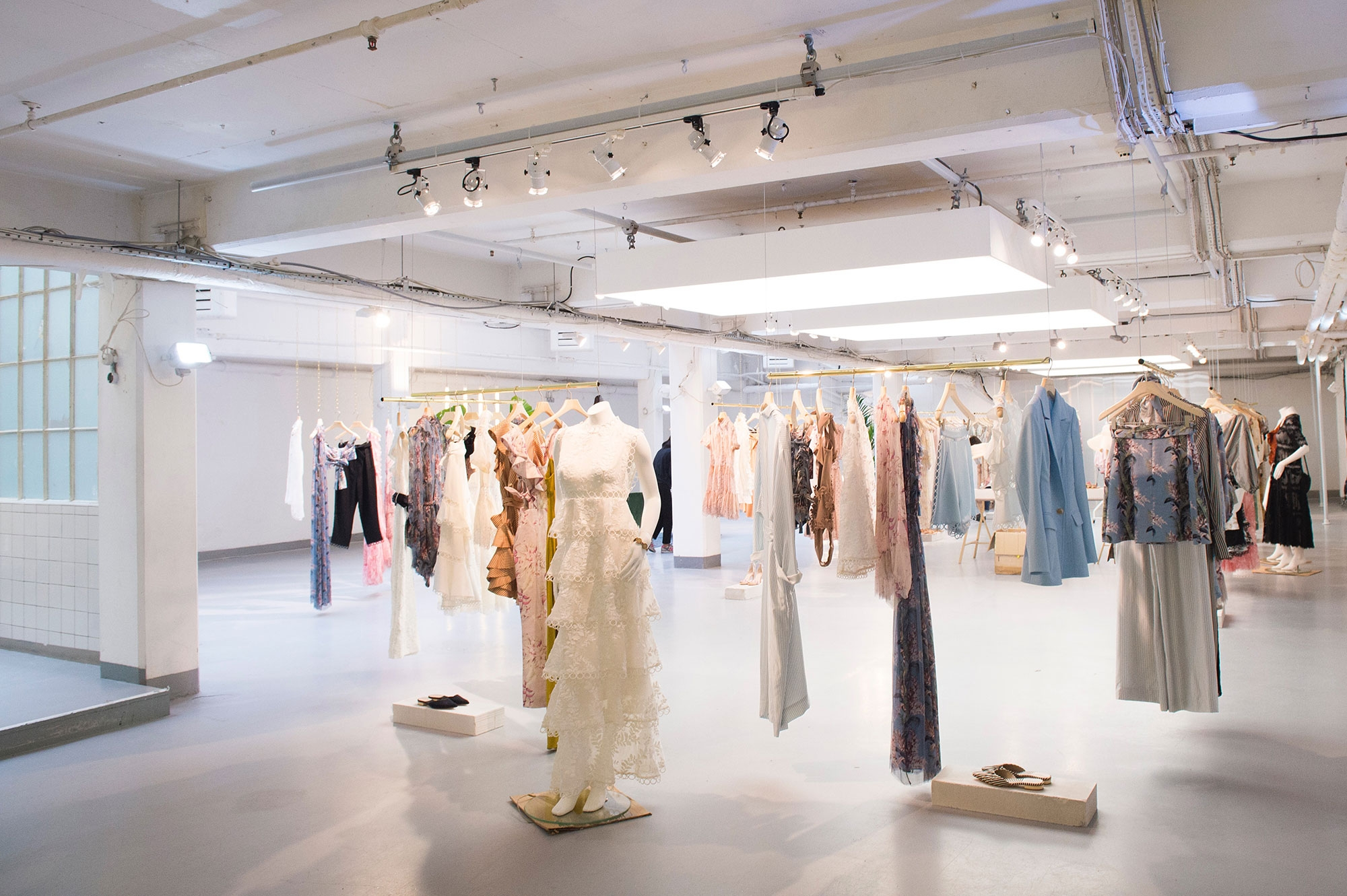 A showroom full of Zimmermann's Resort 17 collection at The Vinyl Factory. June 2016