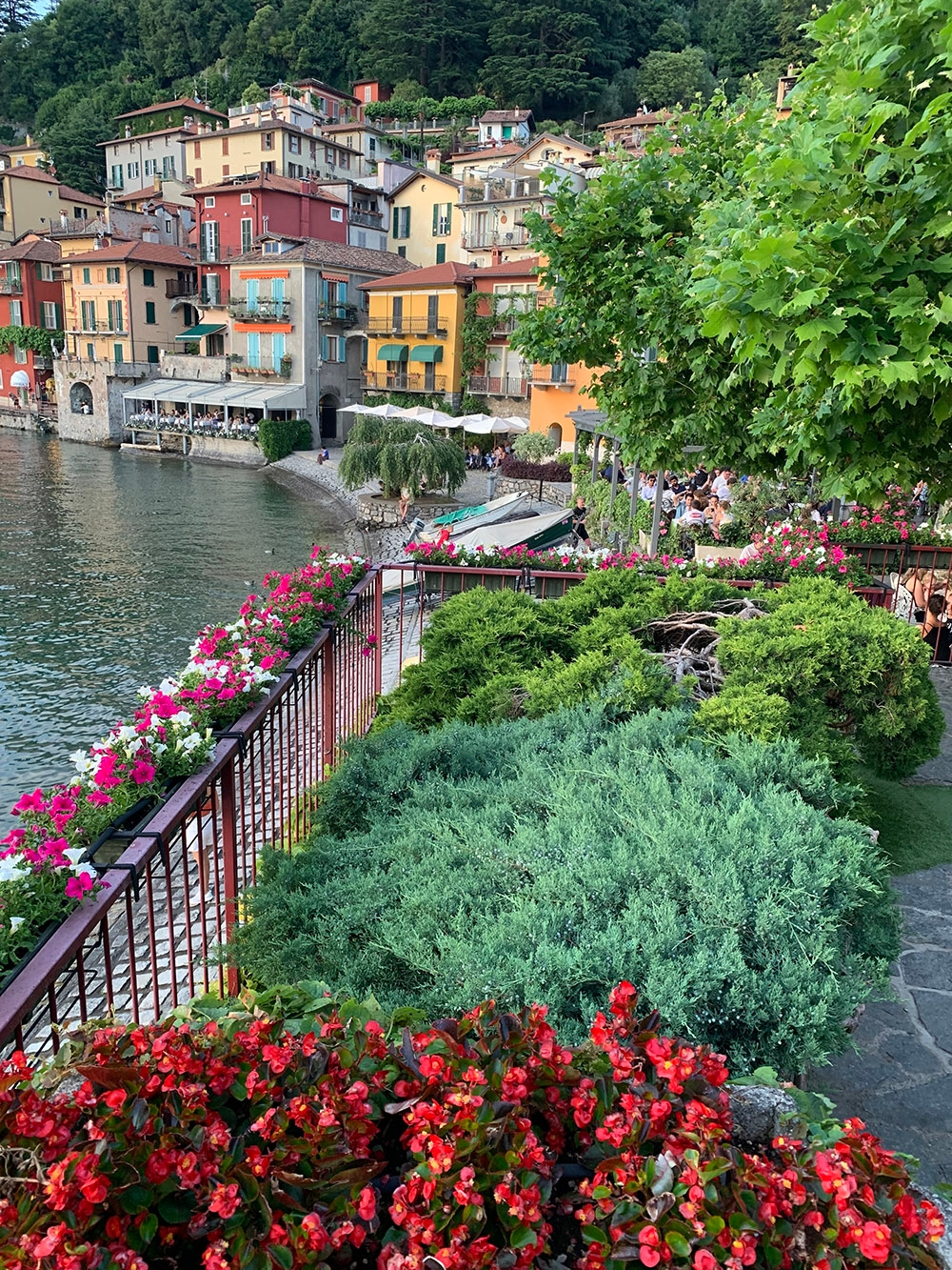 A balcony lined with flowering plants overlooks the terraced buildings that fill the shoreline of Lake Como