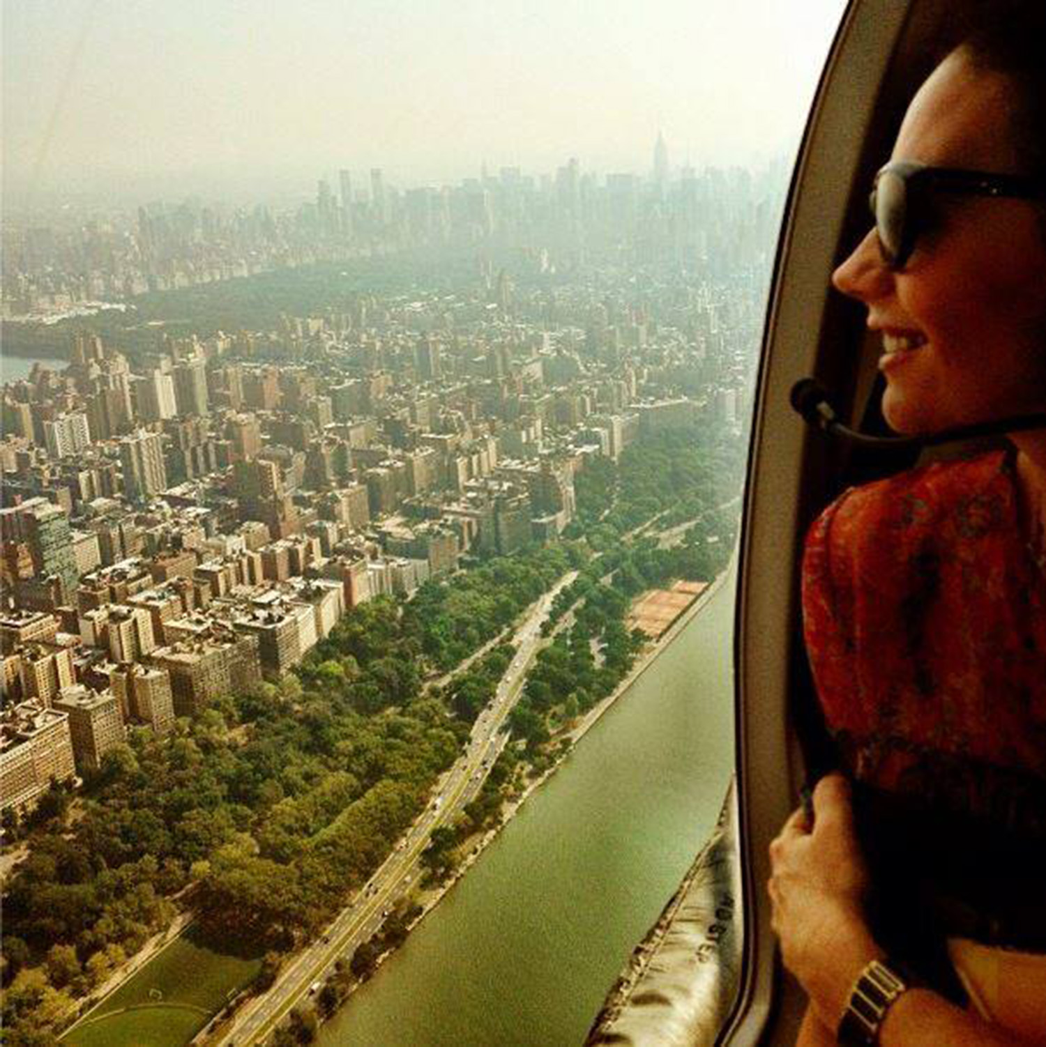 Nicky Zimmermann looking over NYC from a helicopter