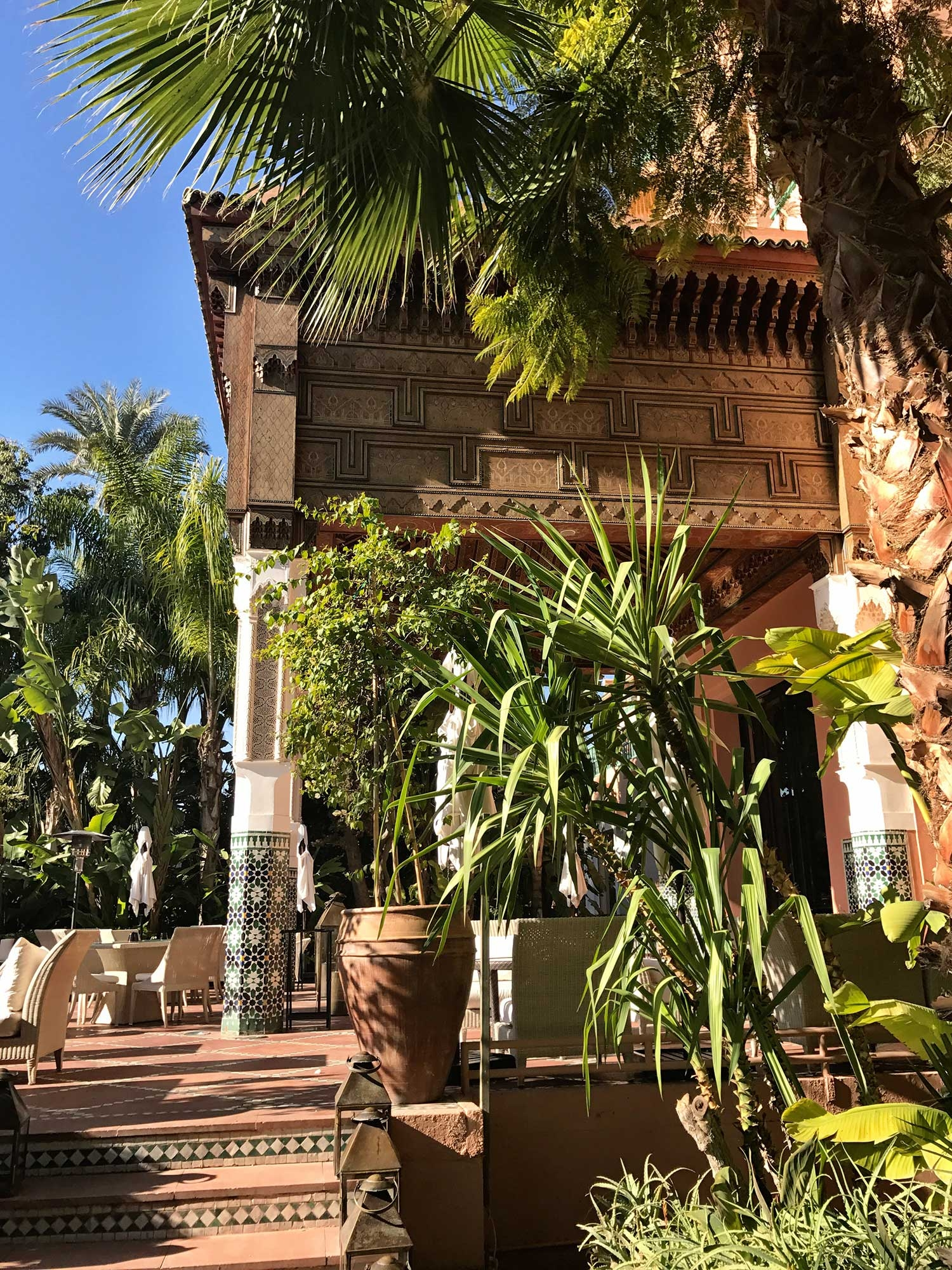 Walking the gardens at La Mamounia