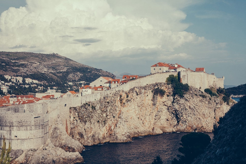 The walls of Dubrovnik atop a large cliff
