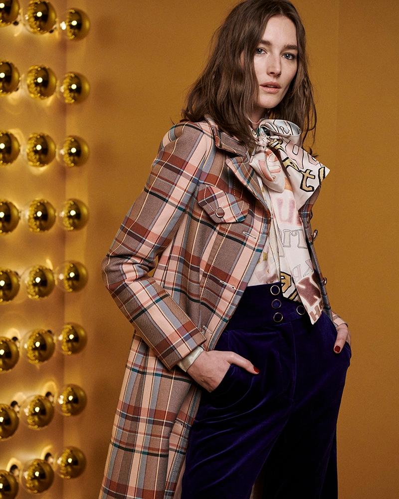 Look 4: Ladybeetle Word Blouse, Ladybeetle Tuxedo Flare and Lucky Check Coat