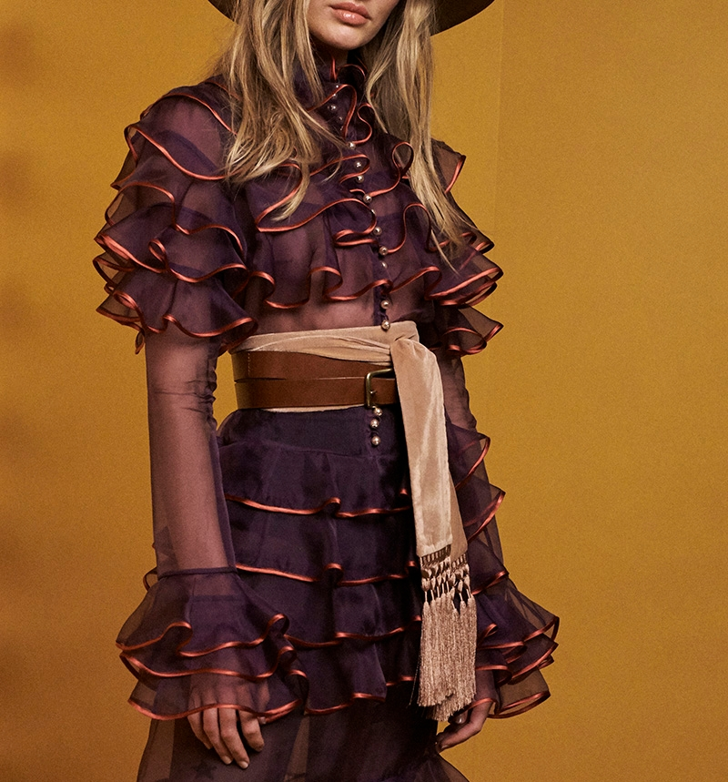 Look 8: Tiered Dress, Velvet Skinny Tassel Scarf, Lace Up Tall Belt and Masculine Felted Fedora
